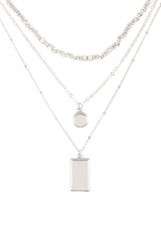 Riah Fashion Square-Round-Pendant-Layered-Mix-Chain-Necklace - Front cropped