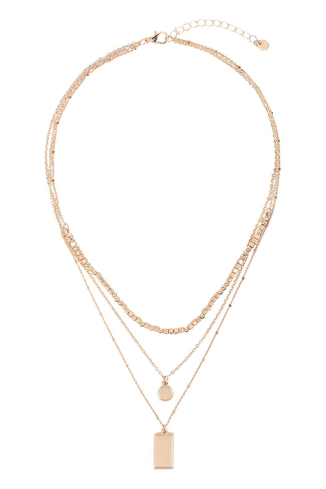 Riah Fashion Square-Round-Pendant-Layered-Mix-Chain-Necklace - Front Full Image