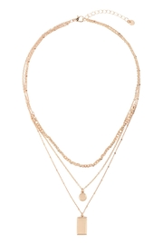 Riah Fashion Square-Round-Pendant-Layered-Mix-Chain-Necklace - Front full body