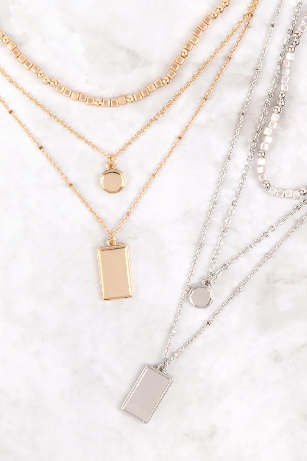 Riah Fashion Square-Round-Pendant-Layered-Mix-Chain-Necklace - Side Cropped Image