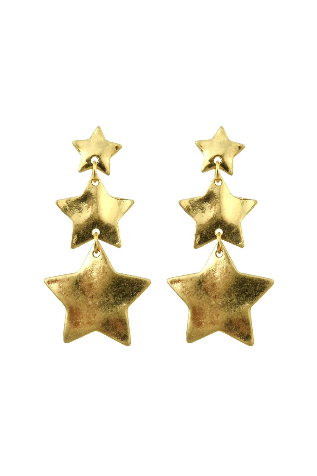 Riah Fashion Star Burnish-Gold Matte-Earrings - Main Image