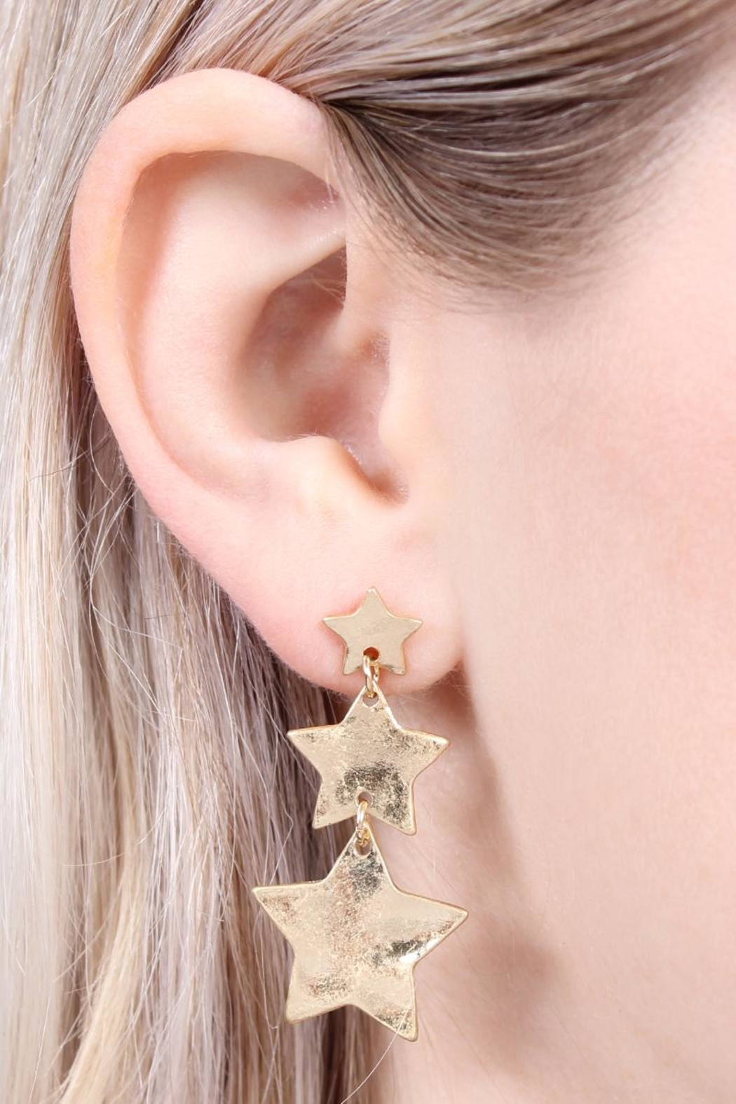 Riah Fashion Star Burnish-Gold Matte-Earrings - Front Full Image