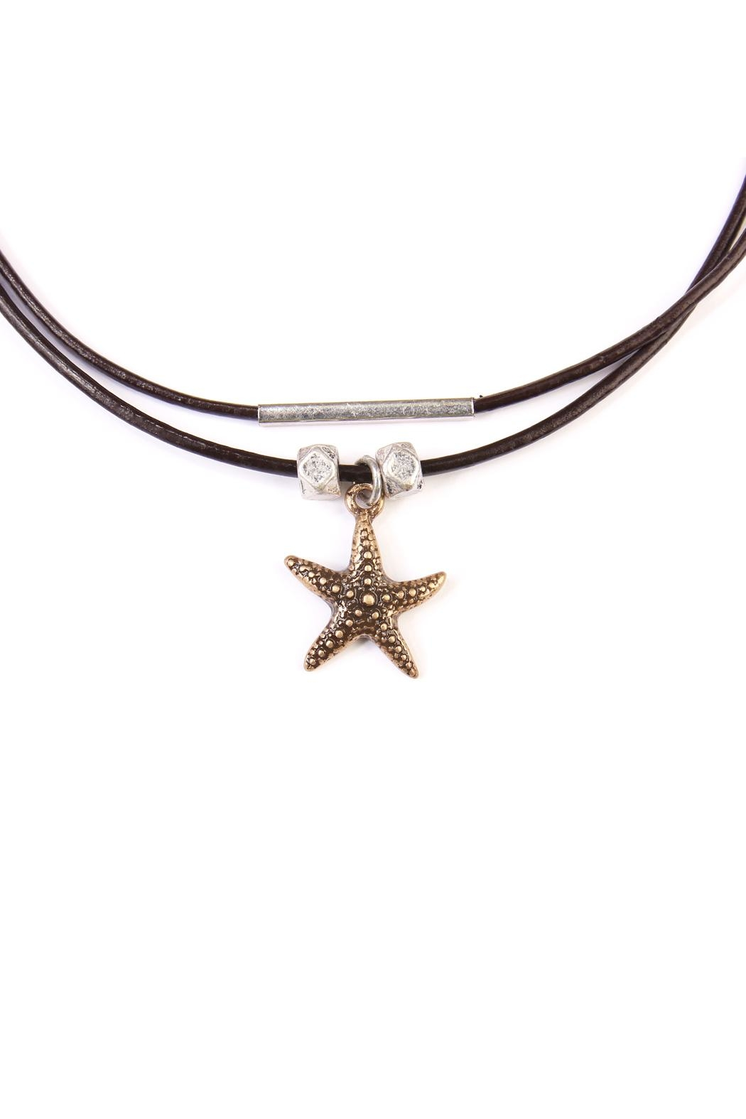 Riah Fashion Star-Fish Choker Necklace - Back Cropped Image