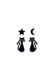 Riah Fashion Star-Moon-Cat-Pairs-Stud-Earrings - Front cropped