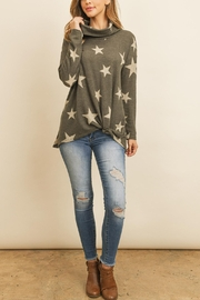 Riah Fashion Star-Print-Cowl-Neckline-Long-Sleeved-Front-Knot-Tunic - Product Mini Image