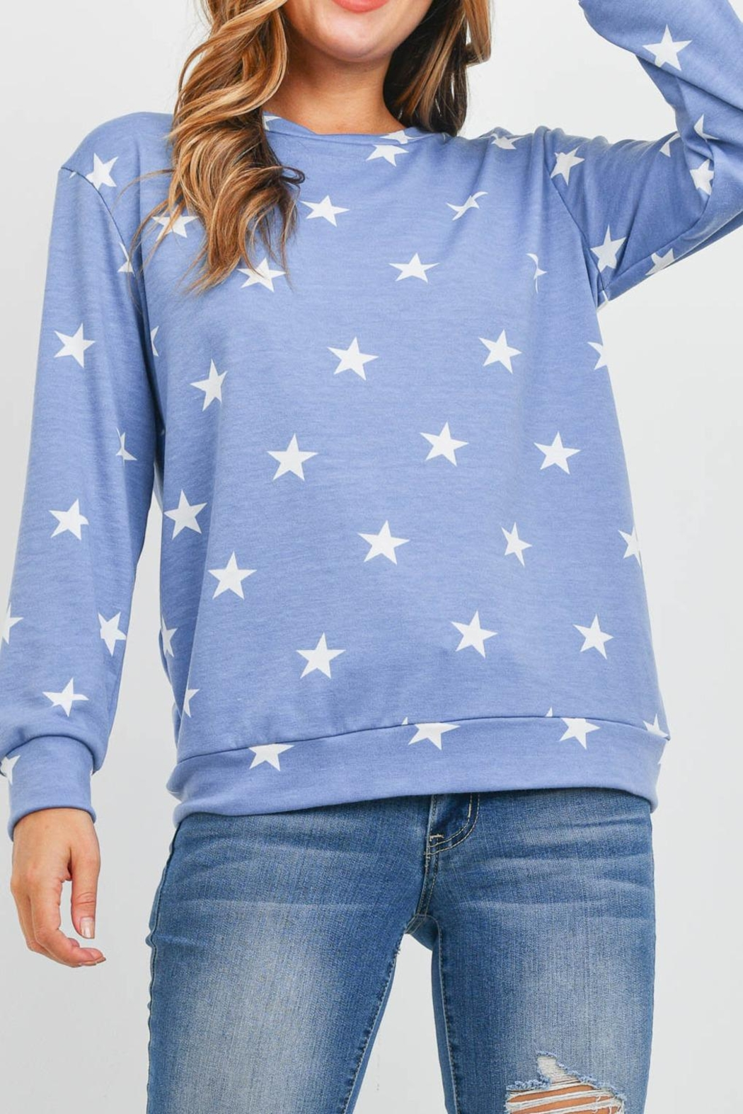 Riah Fashion Star-Print-Long-Sleeve-Pullover - Front Cropped Image