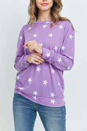 Riah Fashion Star-Print-Long-Sleeve-Pullover - Front cropped