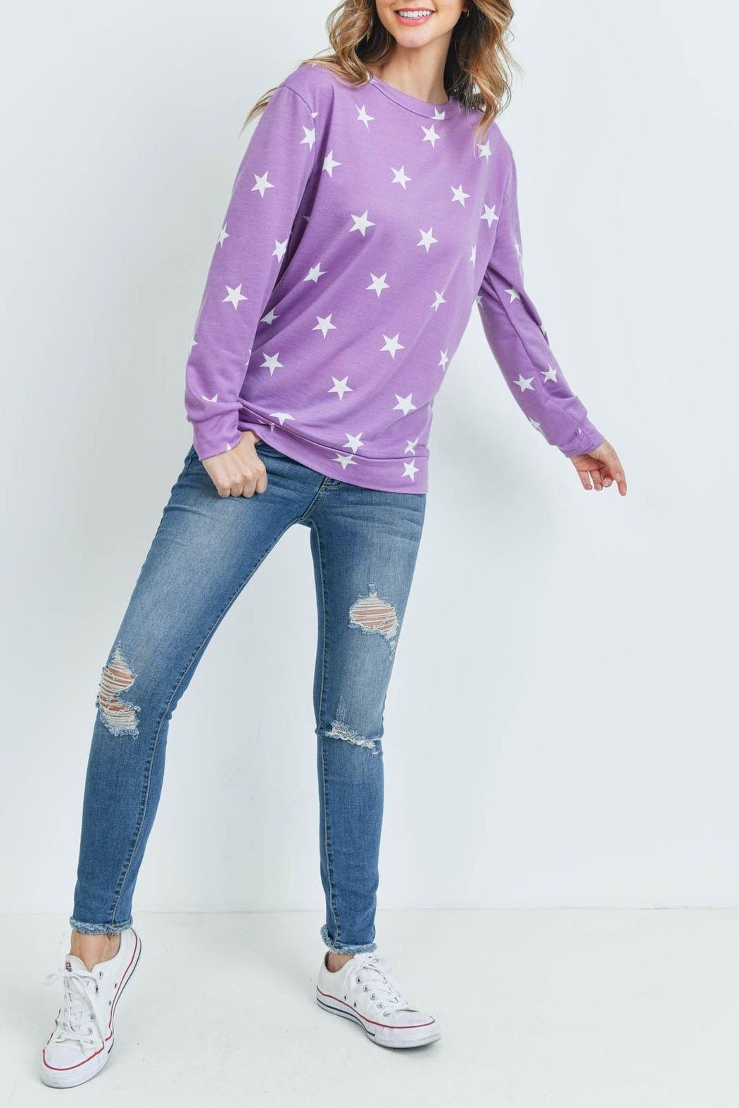 Riah Fashion Star-Print-Long-Sleeve-Pullover - Side Cropped Image