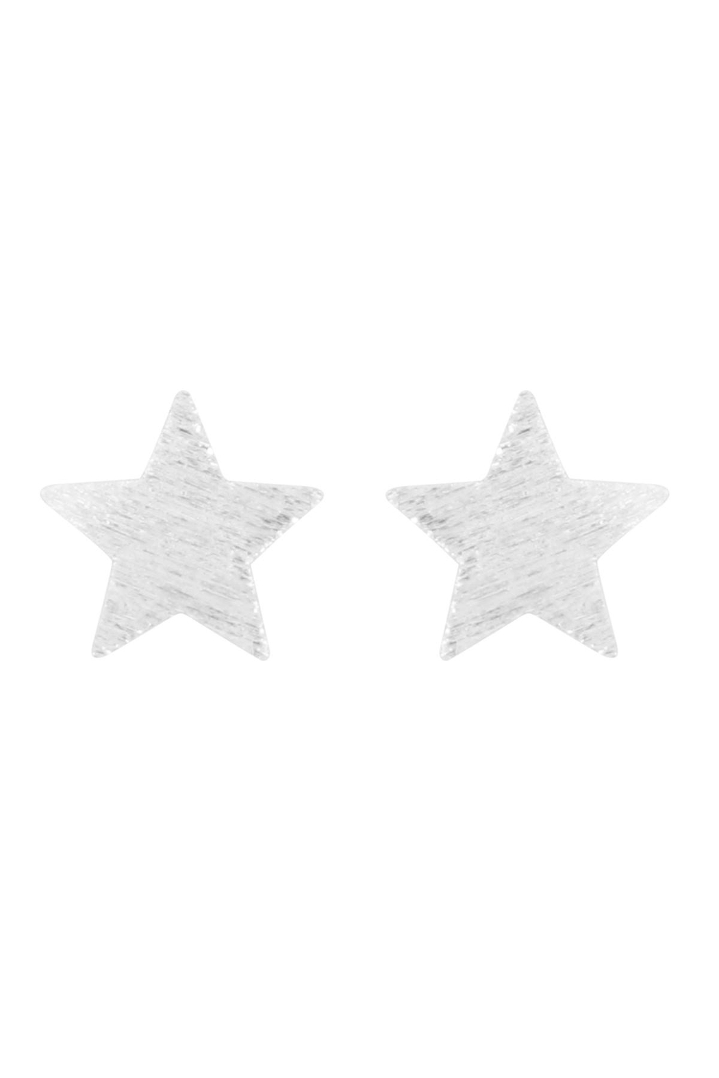 Riah Fashion Star-Rough-Finish-Post-Earrings - Front Cropped Image