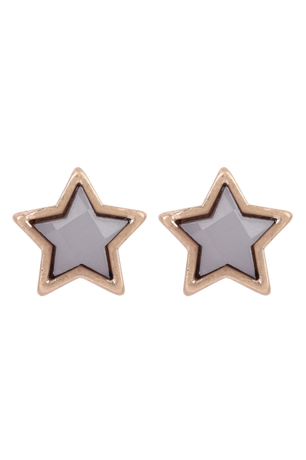 Riah Fashion Star-Shape-Faux-Stone-Post-Earrings - Front Cropped Image