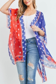 Riah Fashion Star-Trim-American-Flag Kimono - Product Mini Image