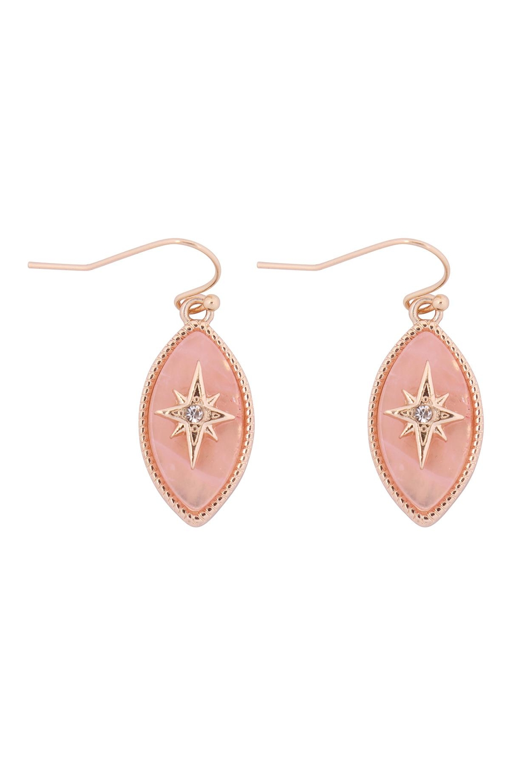 Riah Fashion Starburst-Cubic-Semi-Precious-Stone-Marquise-Shape-Hook-Earrings - Front Cropped Image