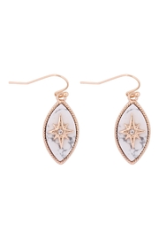 Riah Fashion Starburst-Cubic-Semi-Precious-Stone-Marquise-Shape-Hook-Earrings - Front cropped