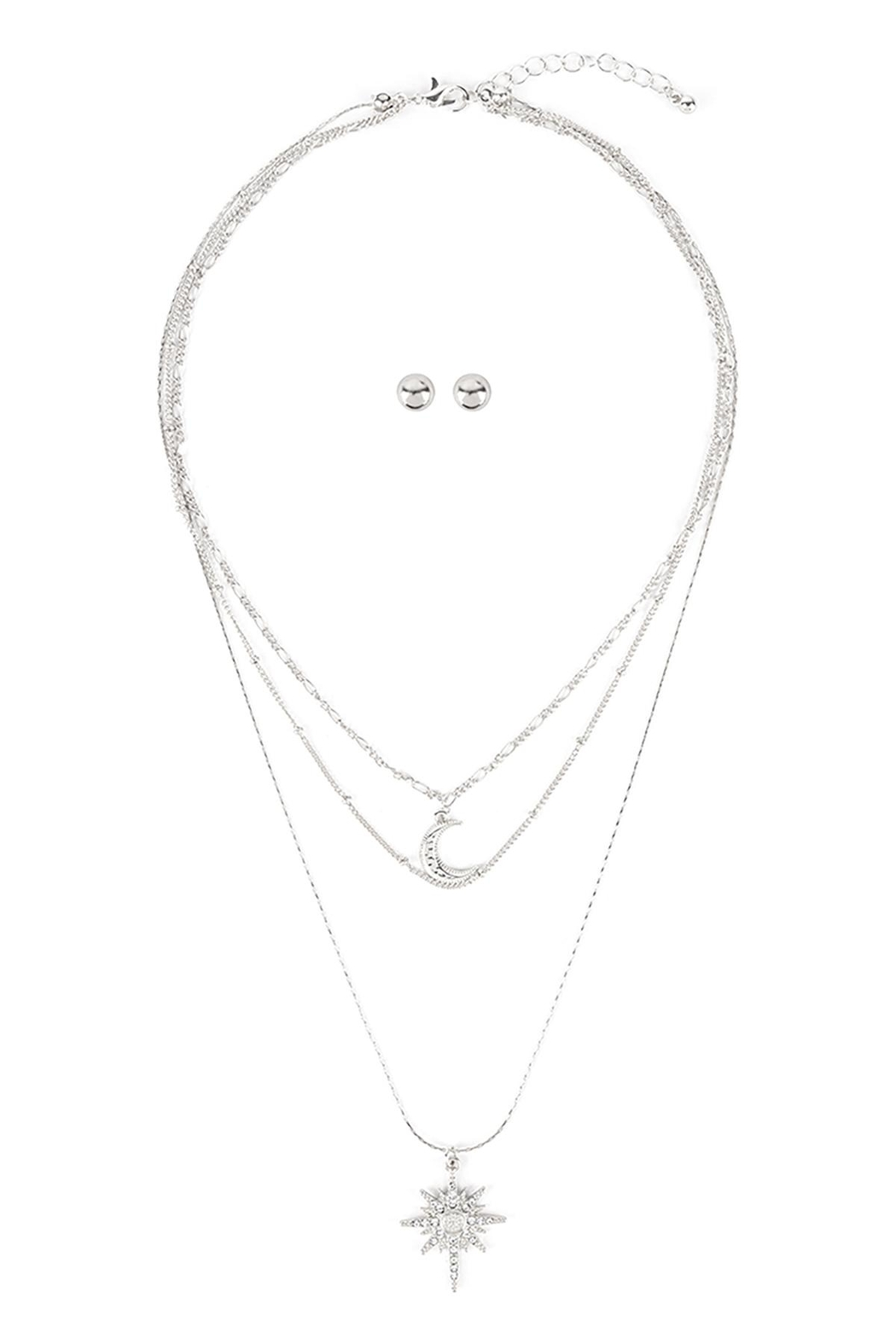 Riah Fashion Starburst-Layered-Pave-Crystal-Necklace-And-Earring-Set - Front Cropped Image