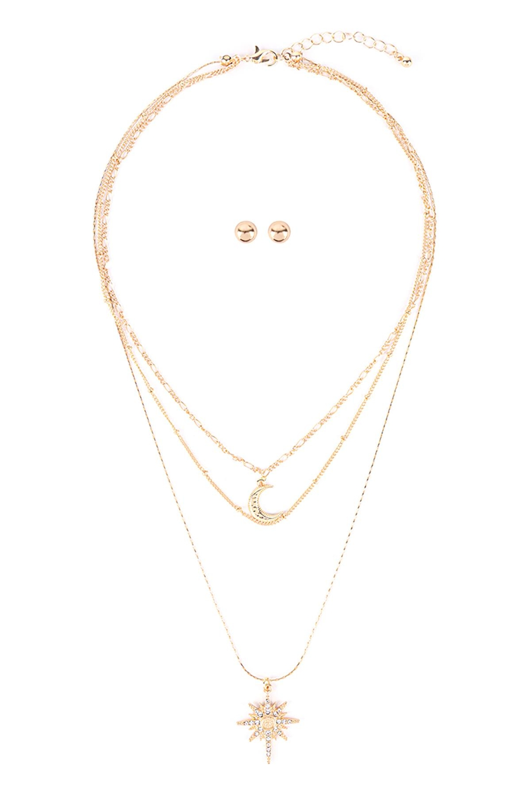 Riah Fashion Starburst-Layered-Pave-Crystal-Necklace-And-Earring-Set - Main Image