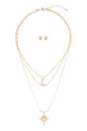 Riah Fashion Starburst-Layered-Pave-Crystal-Necklace-And-Earring-Set - Front cropped