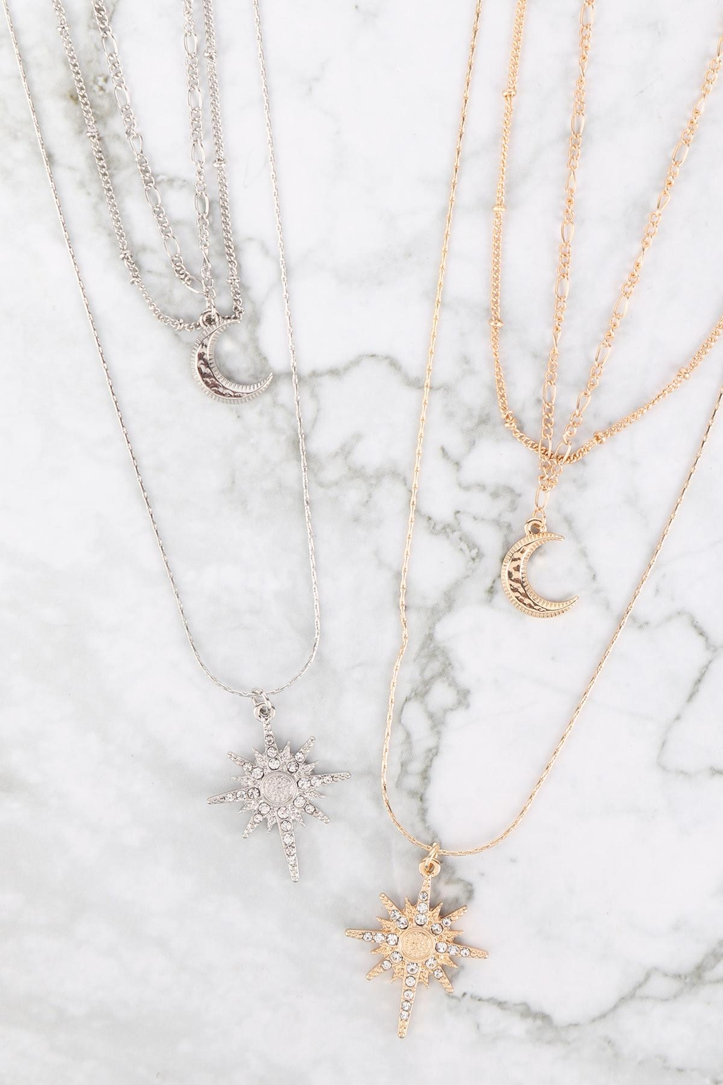 Riah Fashion Starburst-Layered-Pave-Crystal-Necklace-And-Earring-Set - Front Full Image