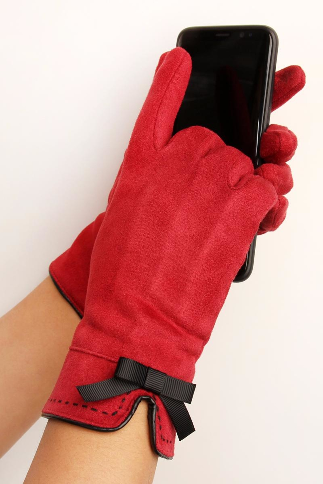 Riah Fashion Stitch Ribbon Gloves - Front Full Image