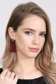 Riah Fashion Stone-With-Tassel Post-Earrings - Front full body