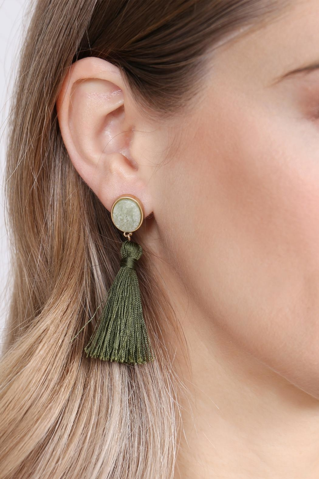 Riah Fashion Stone-With-Tassel Post-Earrings - Side Cropped Image