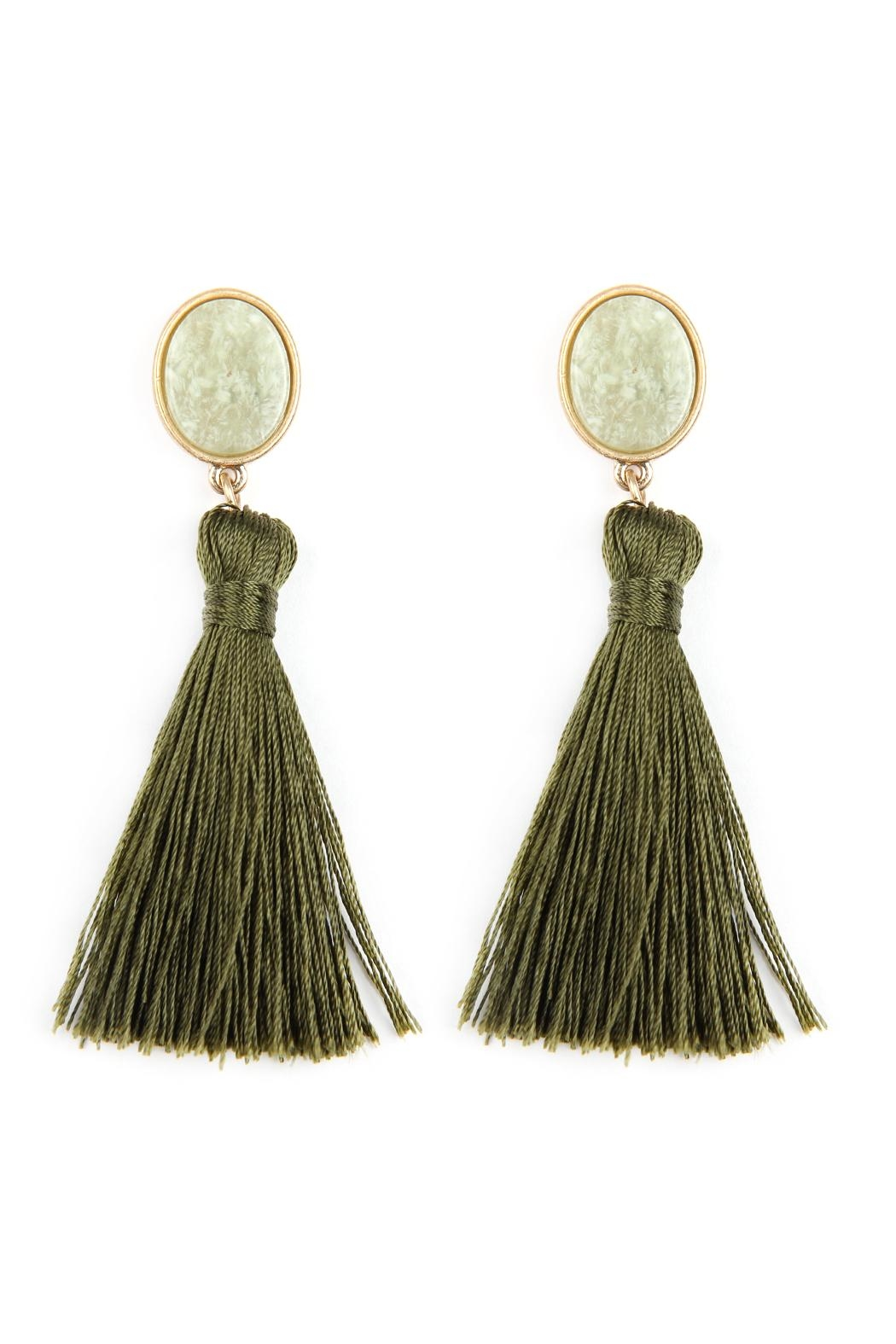 Riah Fashion Stone-With-Tassel Post-Earrings - Front Cropped Image