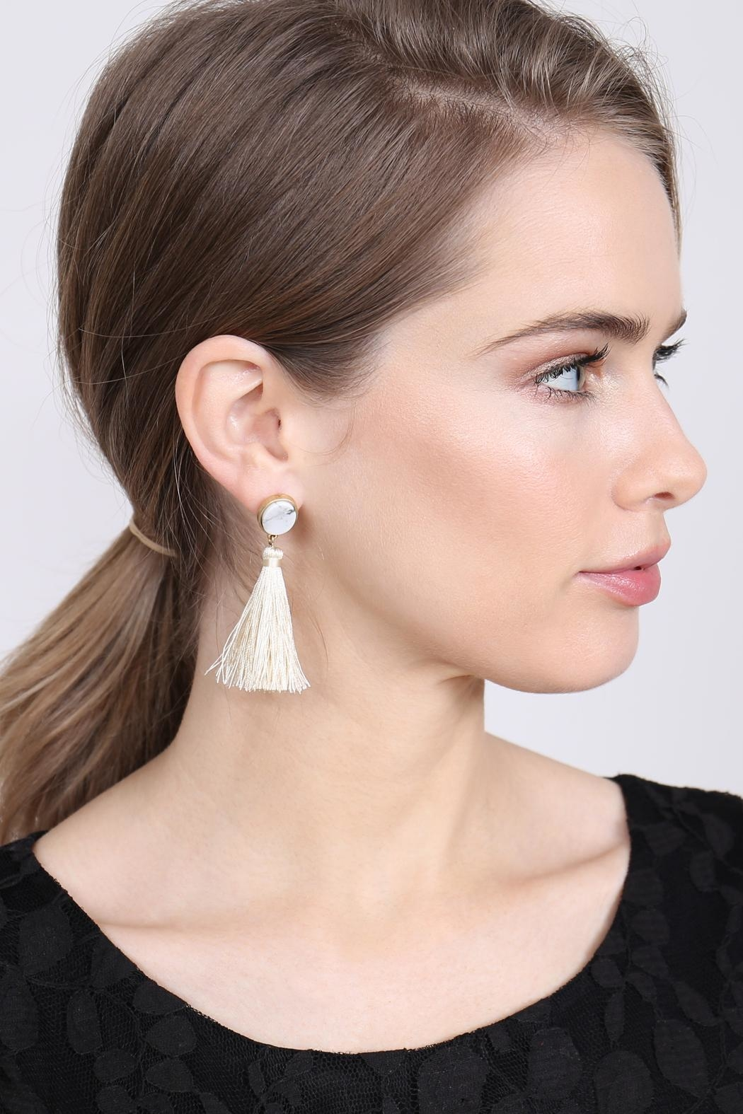 Riah Fashion Stone-With-Tassel Post-Earrings - Front Full Image
