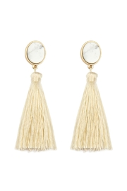 Riah Fashion Stone-With-Tassel Post-Earrings - Product Mini Image