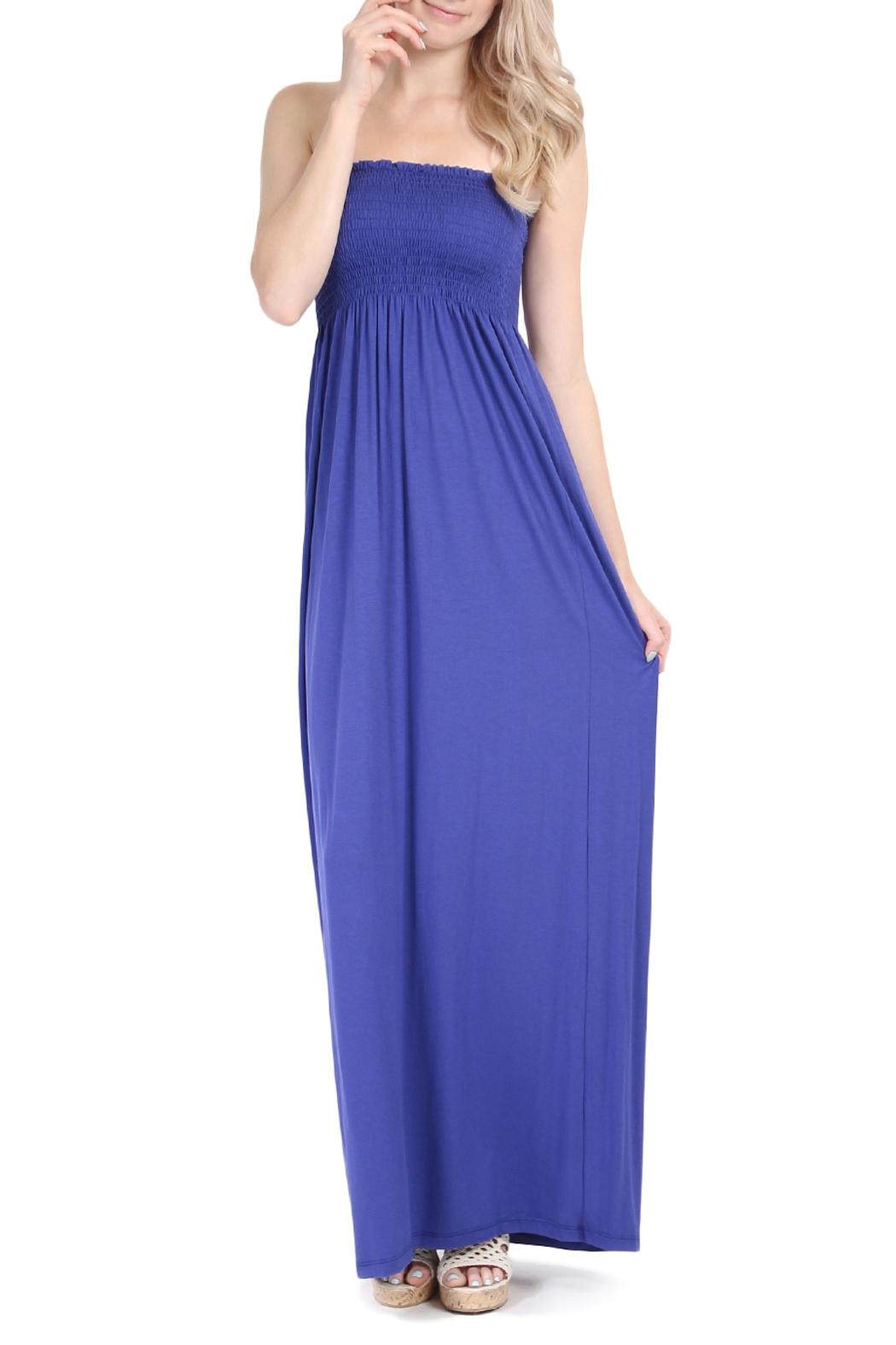 Riah Fashion Strapless Tube Maxi Dress - Front Cropped Image