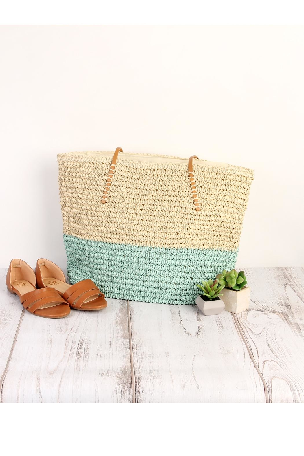 Riah Fashion Straw Leather Strap Tote Beach Bag- - Front Full Image