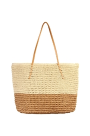 Riah Fashion Straw Leather Strap Tote Beach Bag - Product Mini Image