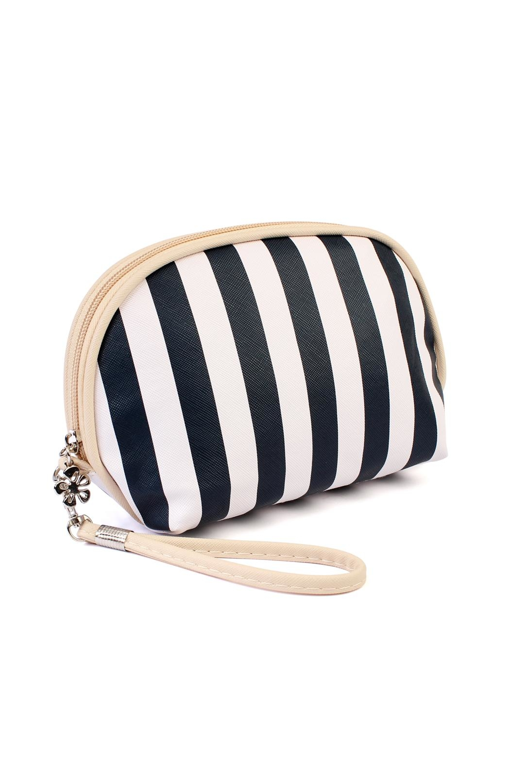 Riah Fashion Striped Cosmetic Pouch - Front Cropped Image