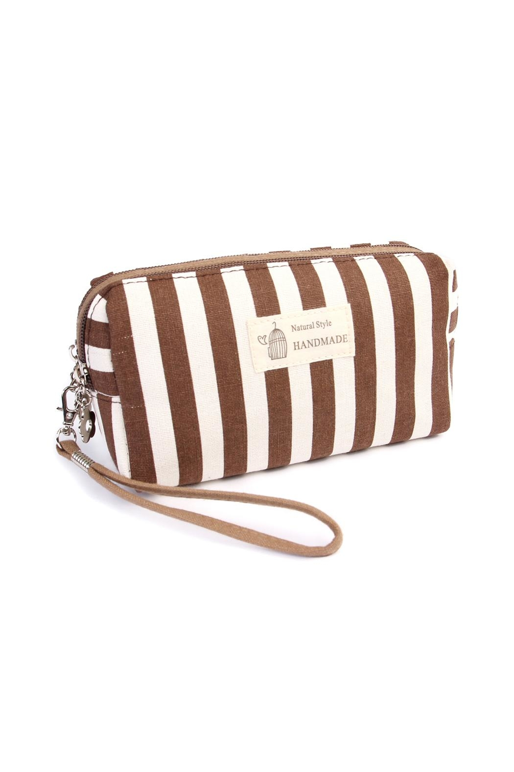 Riah Fashion Striped Cosmetic Pouch - Main Image