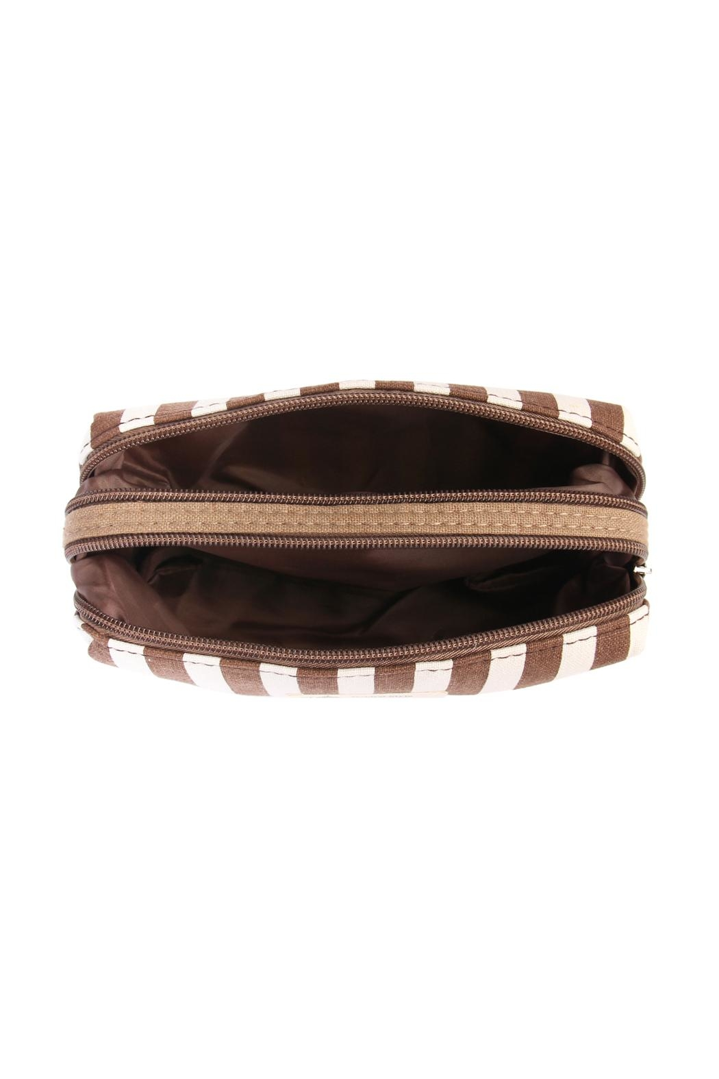 Riah Fashion Striped Cosmetic Pouch - Side Cropped Image