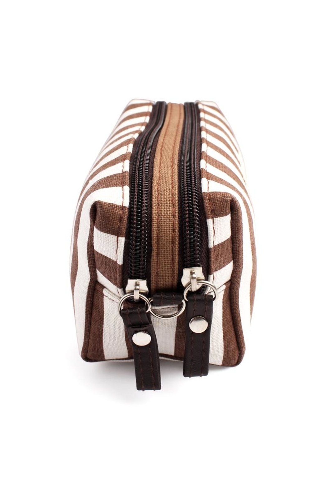 Riah Fashion Striped Cosmetic Pouch - Back Cropped Image