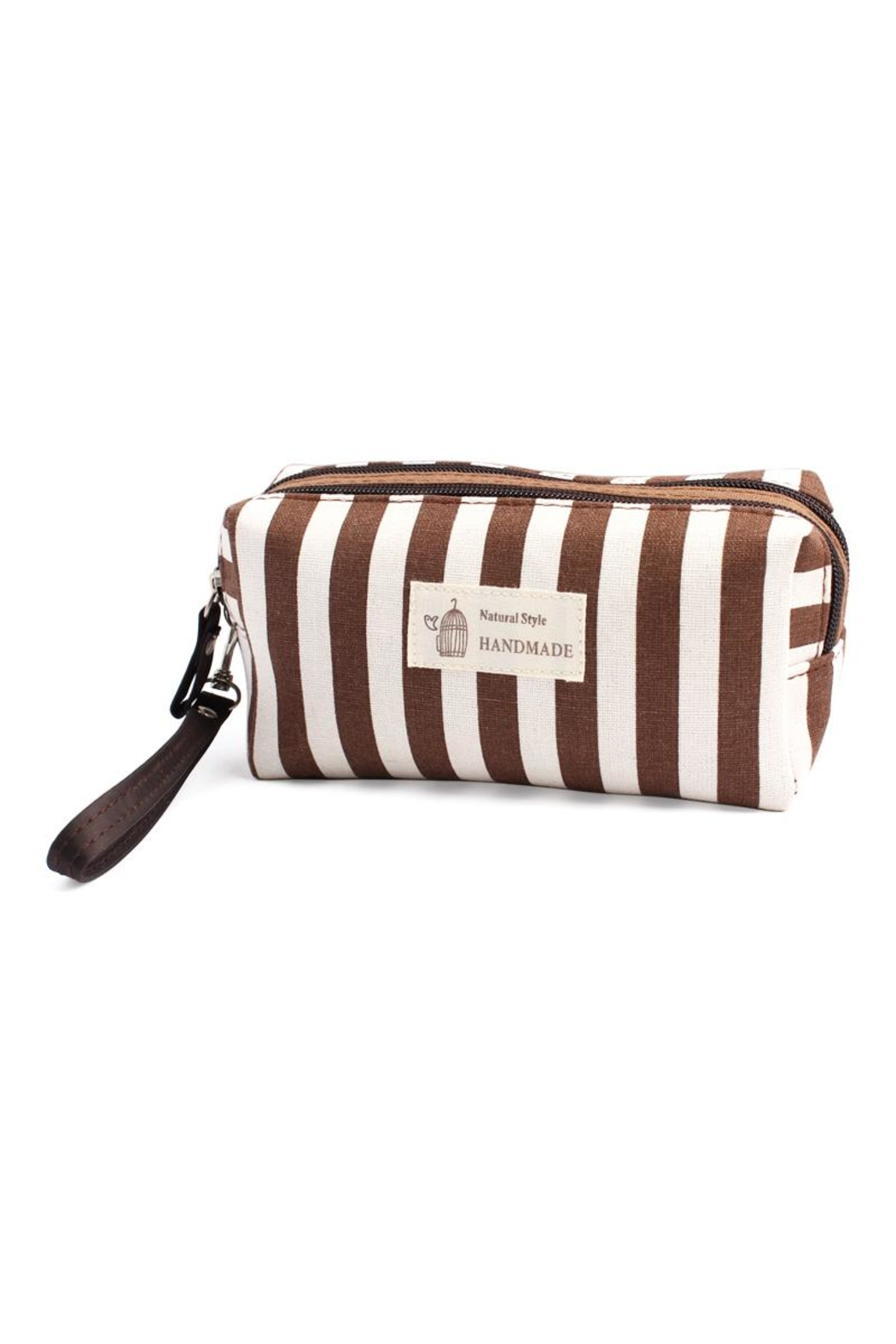 Riah Fashion Striped Cosmetic Pouch - Front Full Image