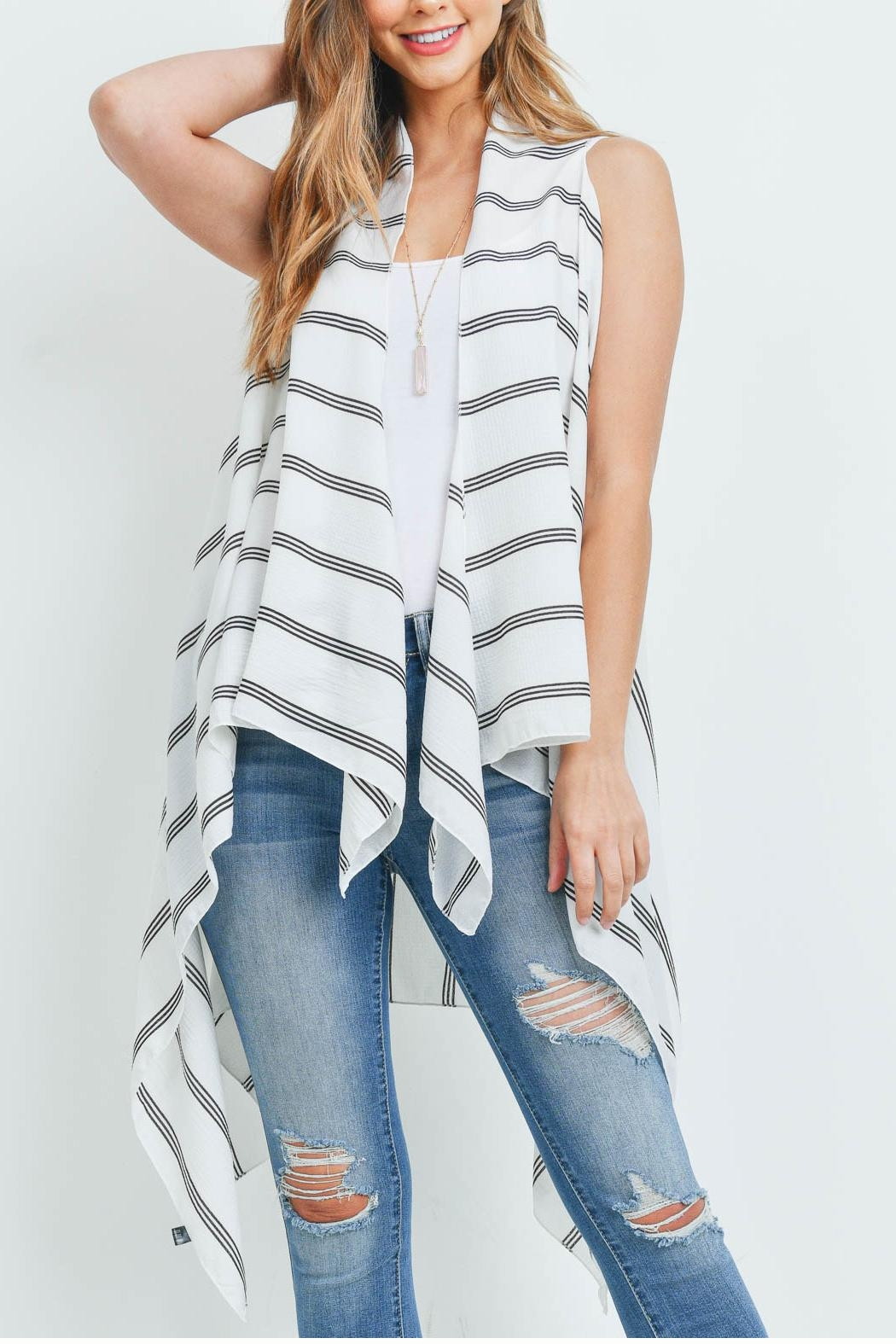 Riah Fashion Striped-Print-Kimono-Vest - Front Cropped Image