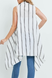 Riah Fashion Striped-Print-Kimono-Vest - Front full body