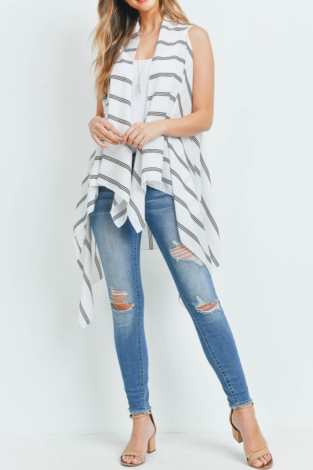 Riah Fashion Striped-Print-Kimono-Vest - Side Cropped Image