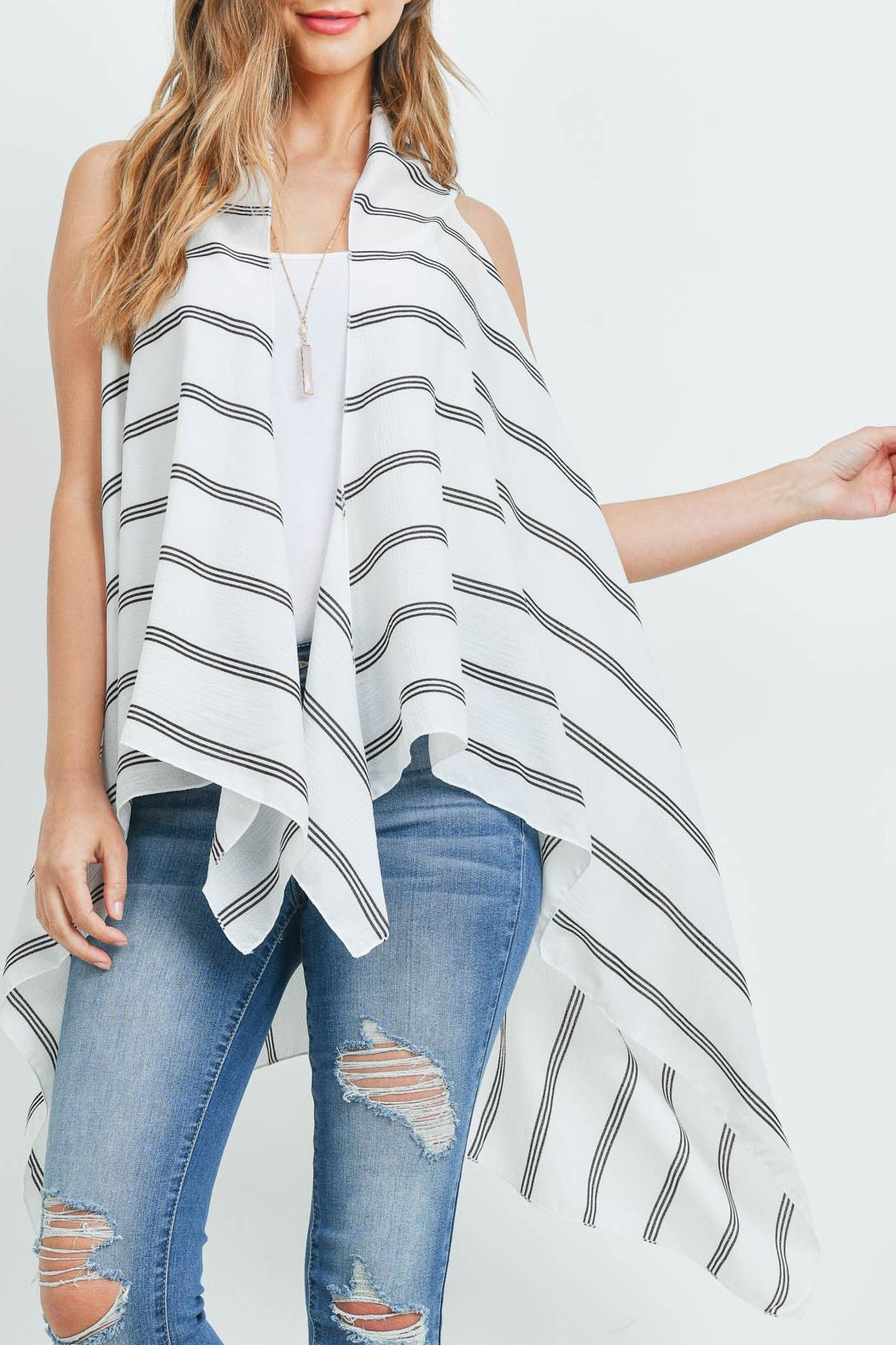 Riah Fashion Striped-Print-Kimono-Vest - Back Cropped Image