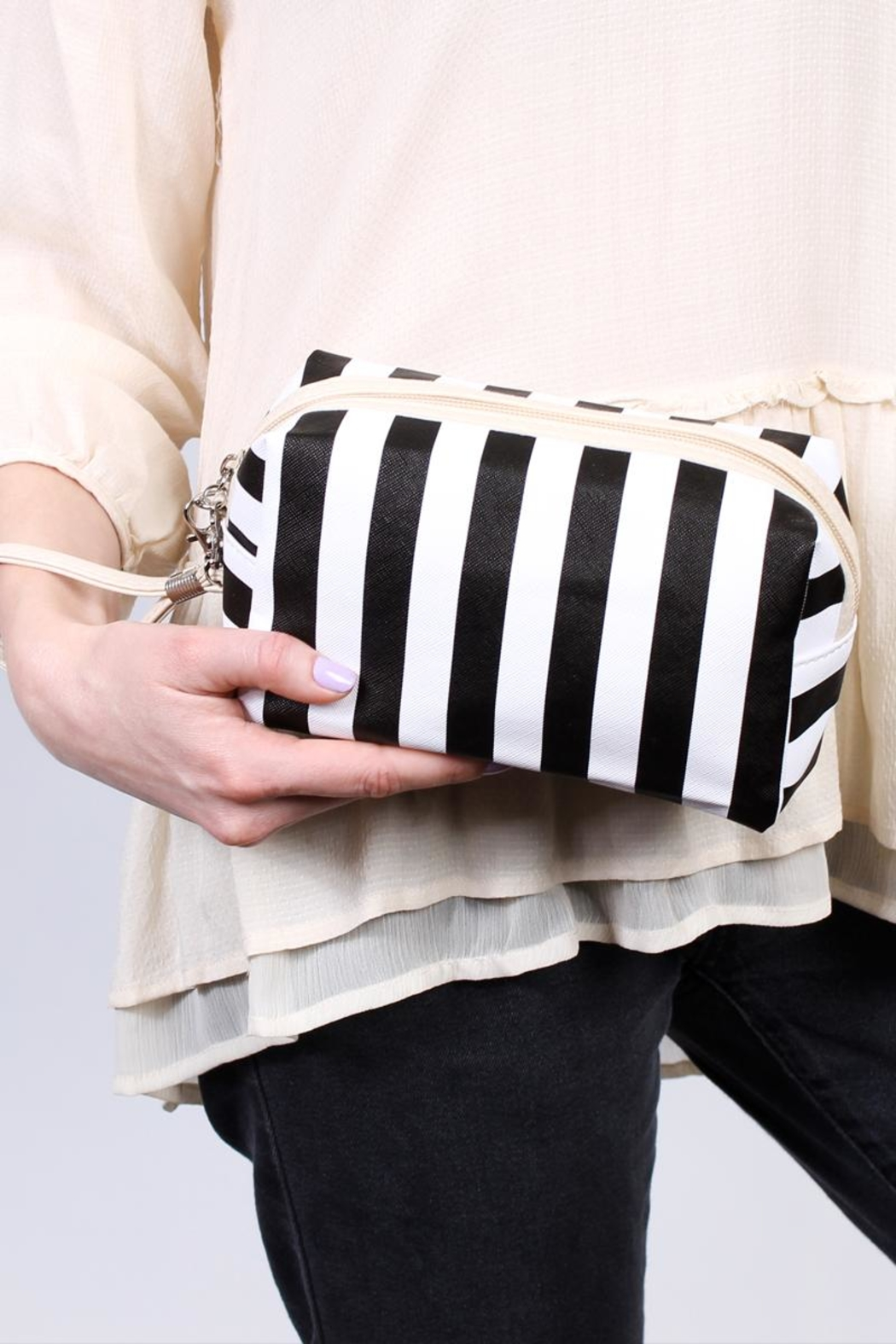 Riah Fashion Striped Print Pouch - Front Full Image