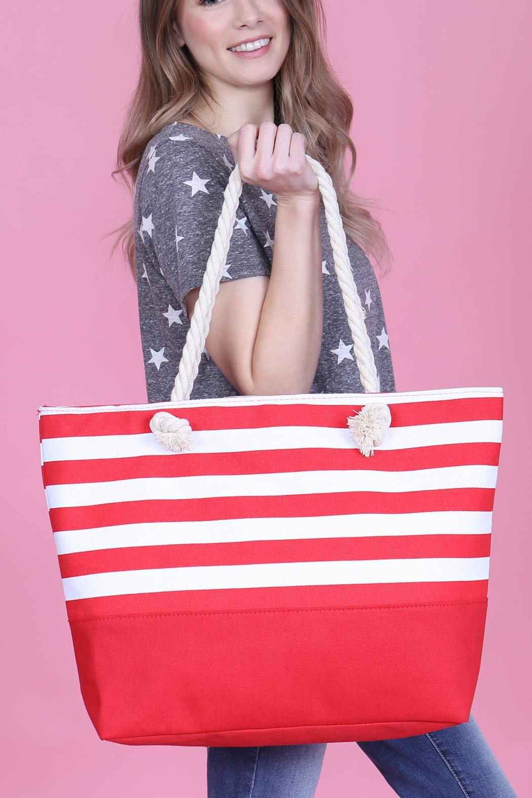 Riah Fashion Striped Tote Bag - Front Full Image