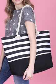 Riah Fashion Striped Tote Bag - Front full body
