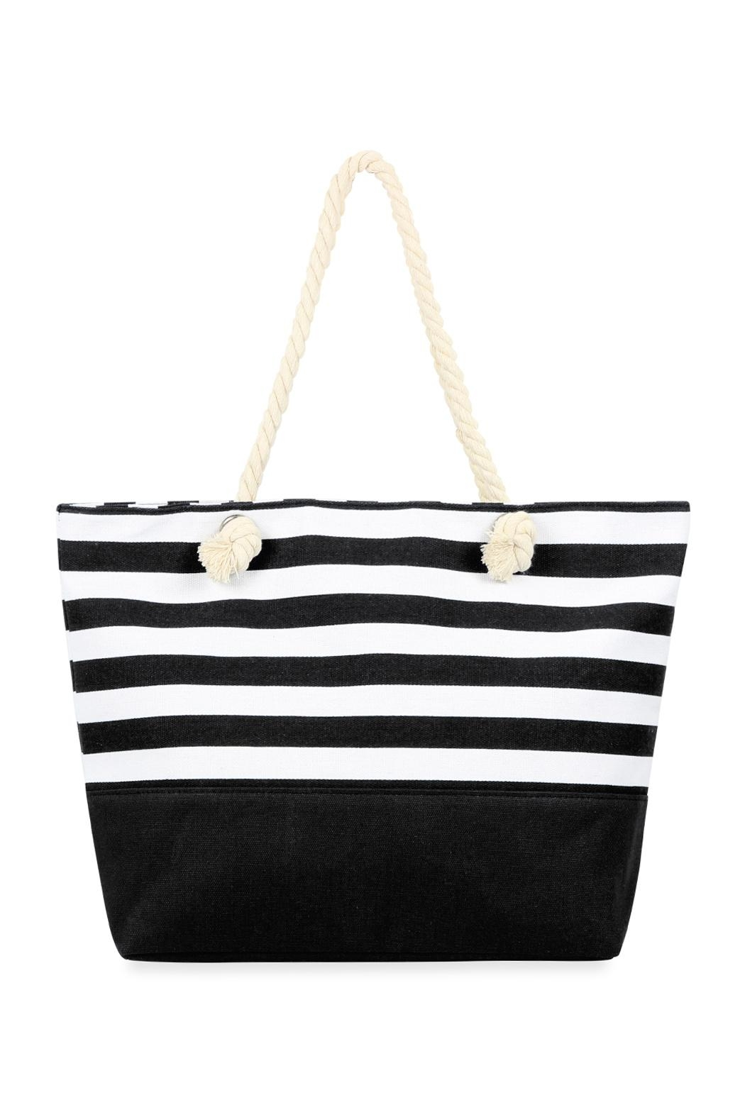 Riah Fashion Striped Tote Bag - Main Image