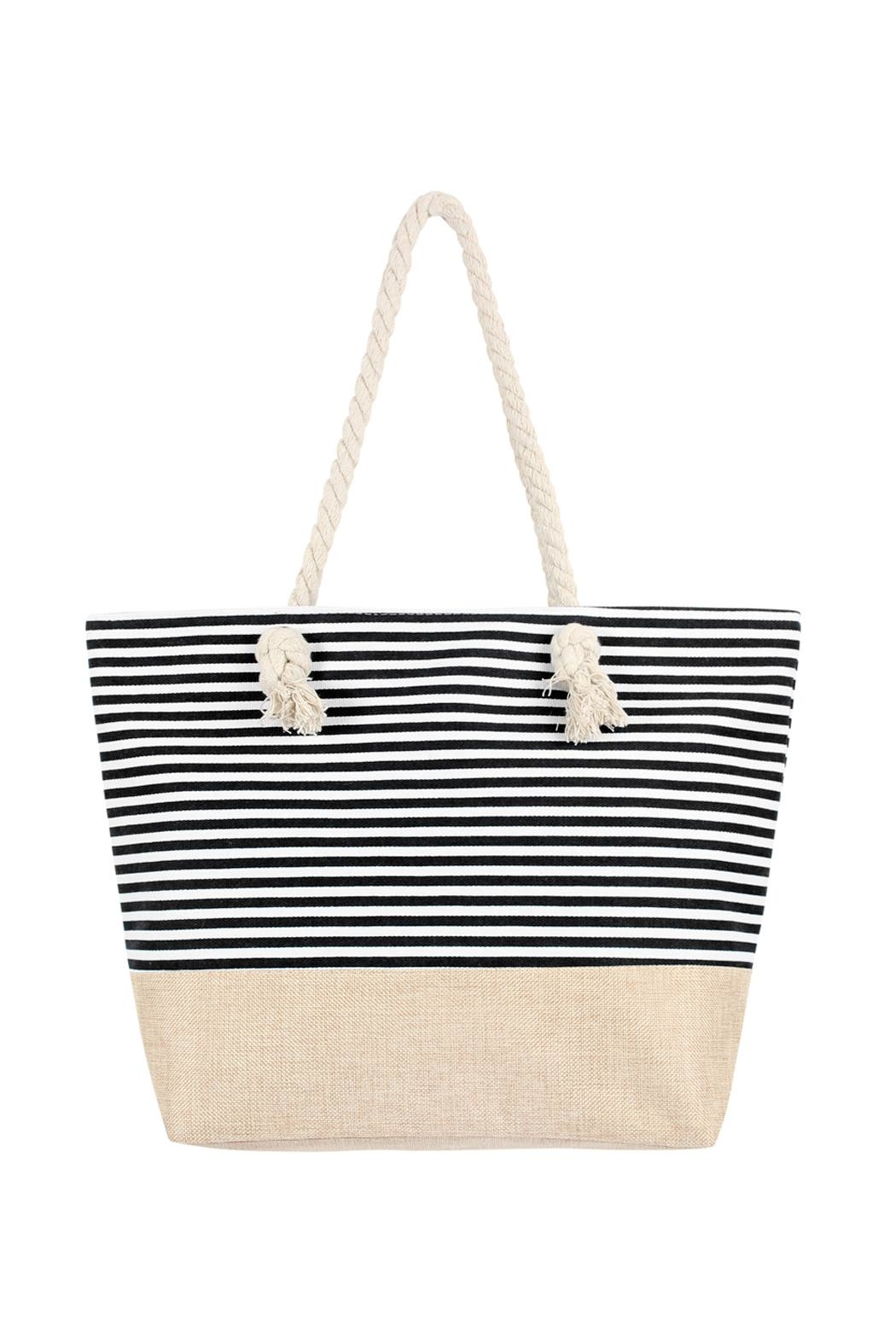 Riah Fashion Striped Tote Bag - Front Cropped Image