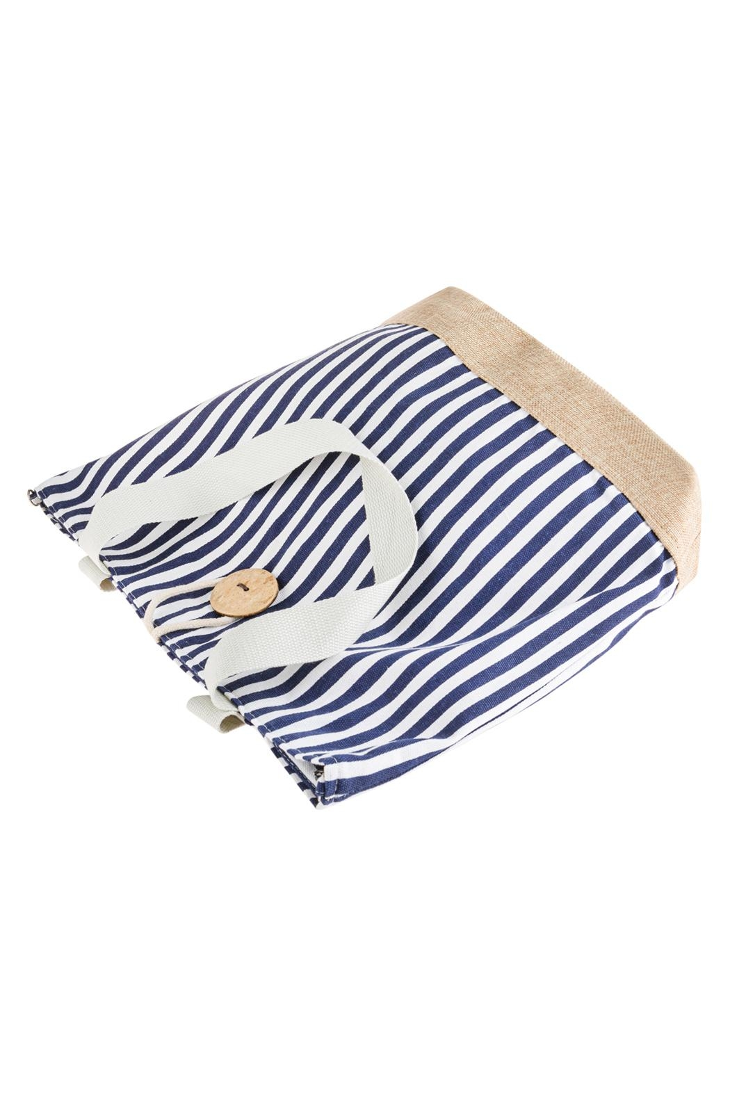 Riah Fashion Striped Tote Bag With Coconut Shell Button Tie Lock - Front Full Image