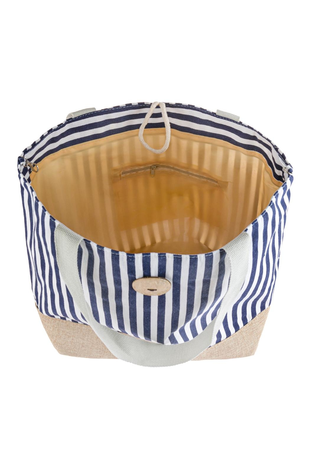 Riah Fashion Striped Tote Bag With Coconut Shell Button Tie Lock - Side Cropped Image