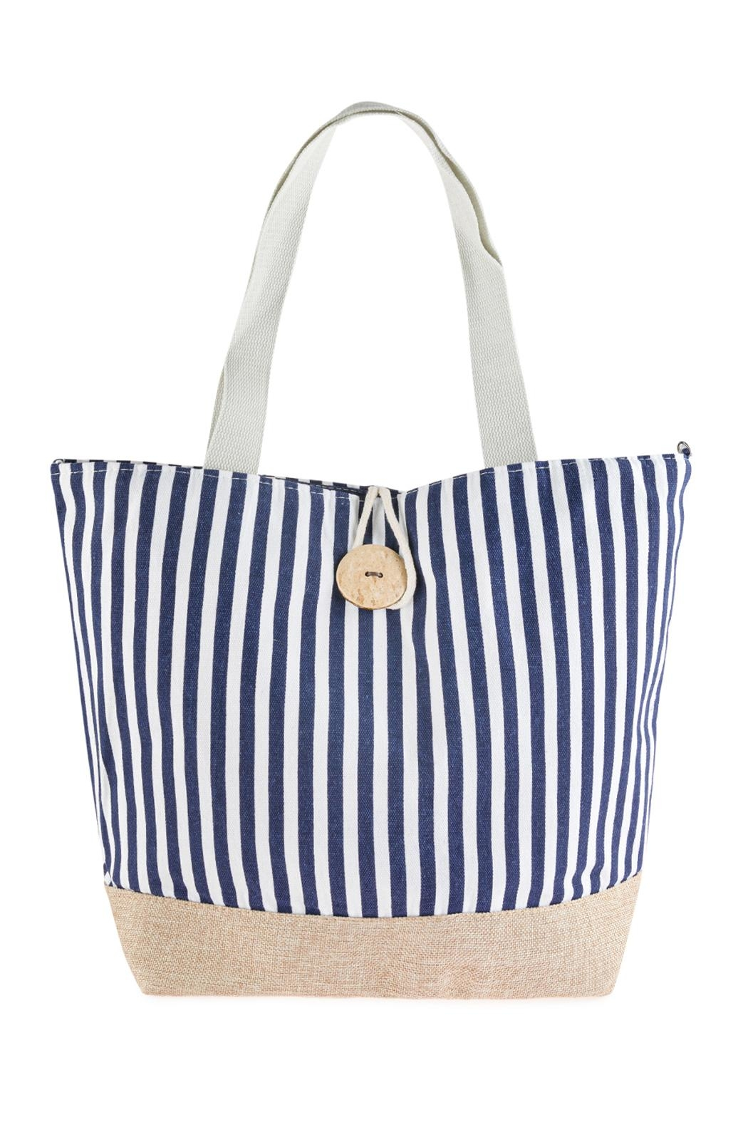 Riah Fashion Striped Tote Bag With Coconut Shell Button Tie Lock - Main Image