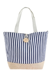 Riah Fashion Striped Tote Bag With Coconut Shell Button Tie Lock - Product Mini Image