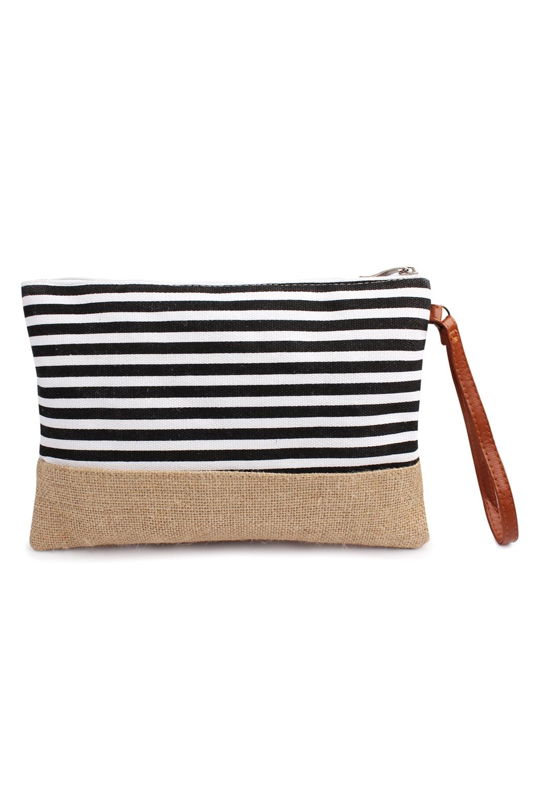 Riah Fashion Striped Wristlet Pouch - Front Cropped Image