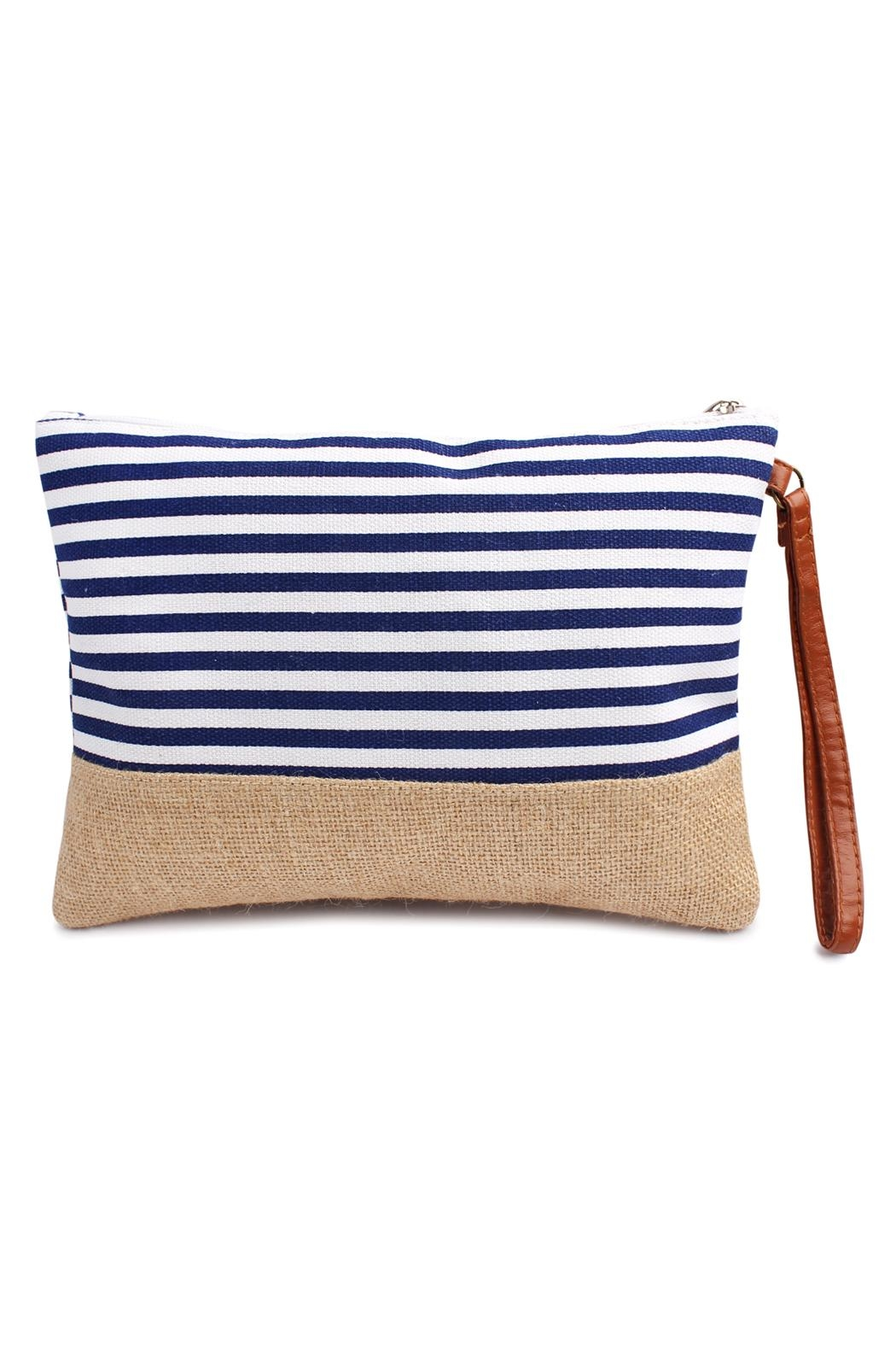 Riah Fashion Striped Wristlet Pouch - Main Image